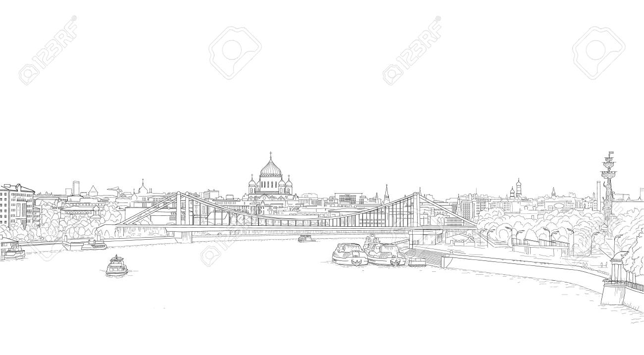 sketch panorama of Moscow - 126371944