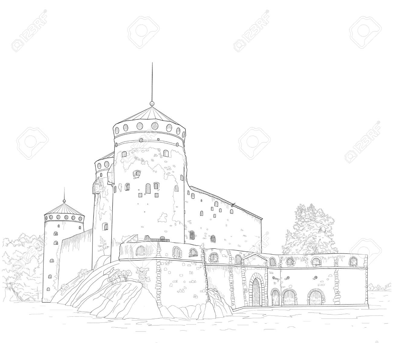 sketch of the medieval fortress of St. Olav in Finland - 141066137