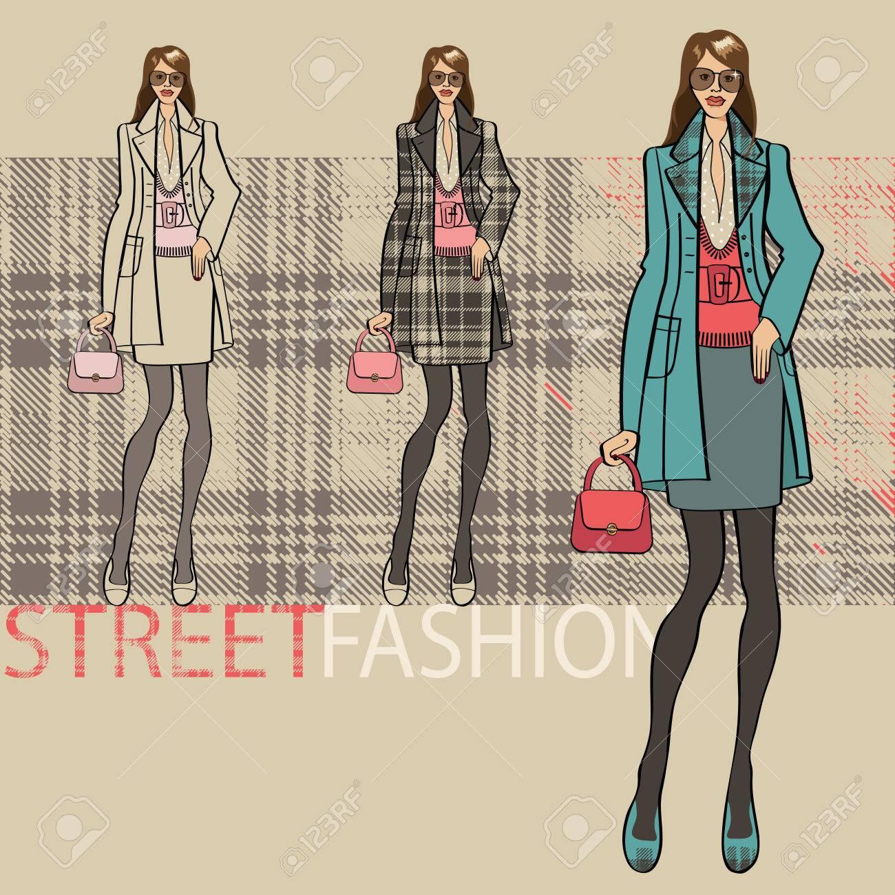 ファッション イラスト。コートとスカートでおしゃれな女の子