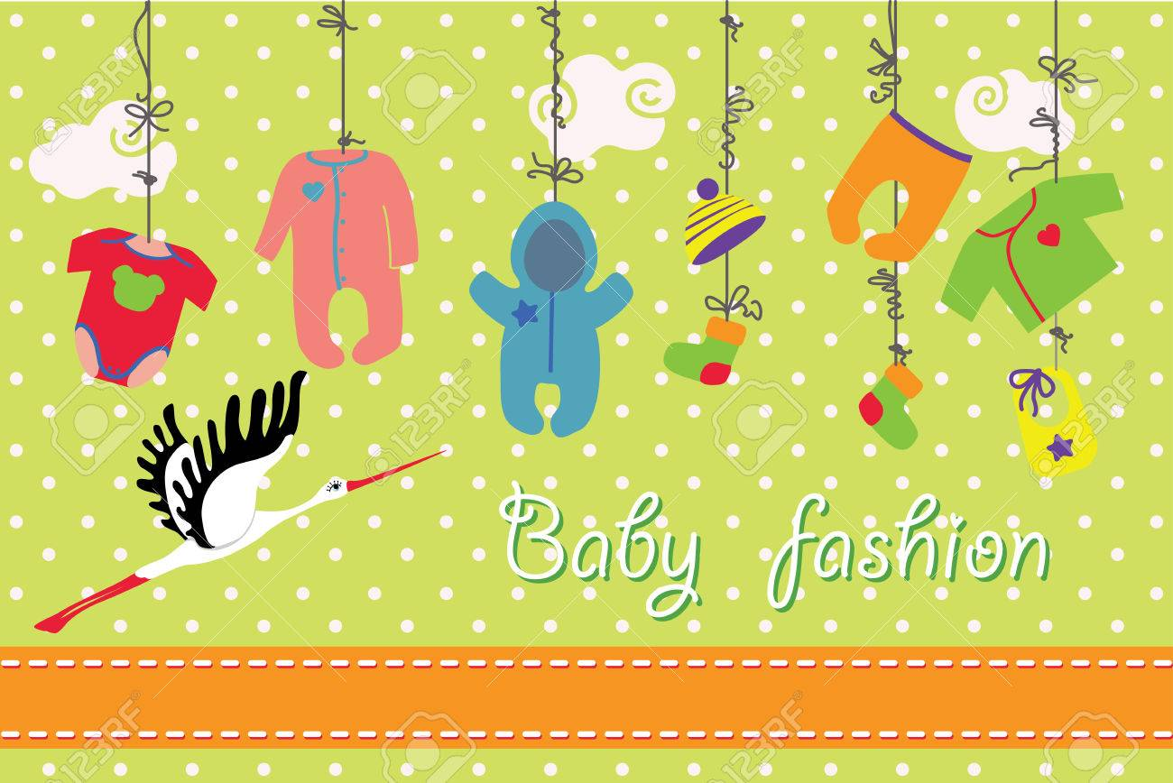 Colorful Clothes For Newborn Baby Boy And Girl Hanging On The Rope