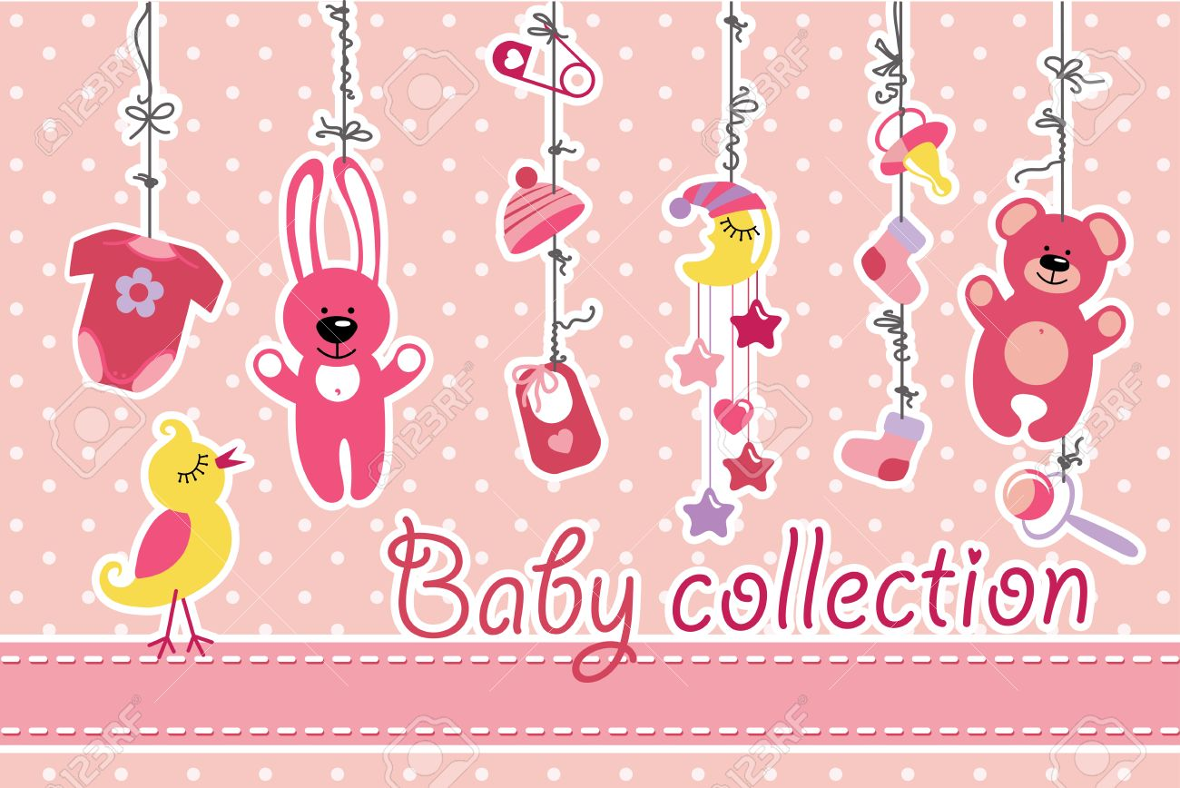 Colorful baby items for newborn baby girl hanging on the rope on banco de imagens colorful baby items for newborn baby girl hanging on the rope on polka dot background design template invitationsgreeting card m4hsunfo