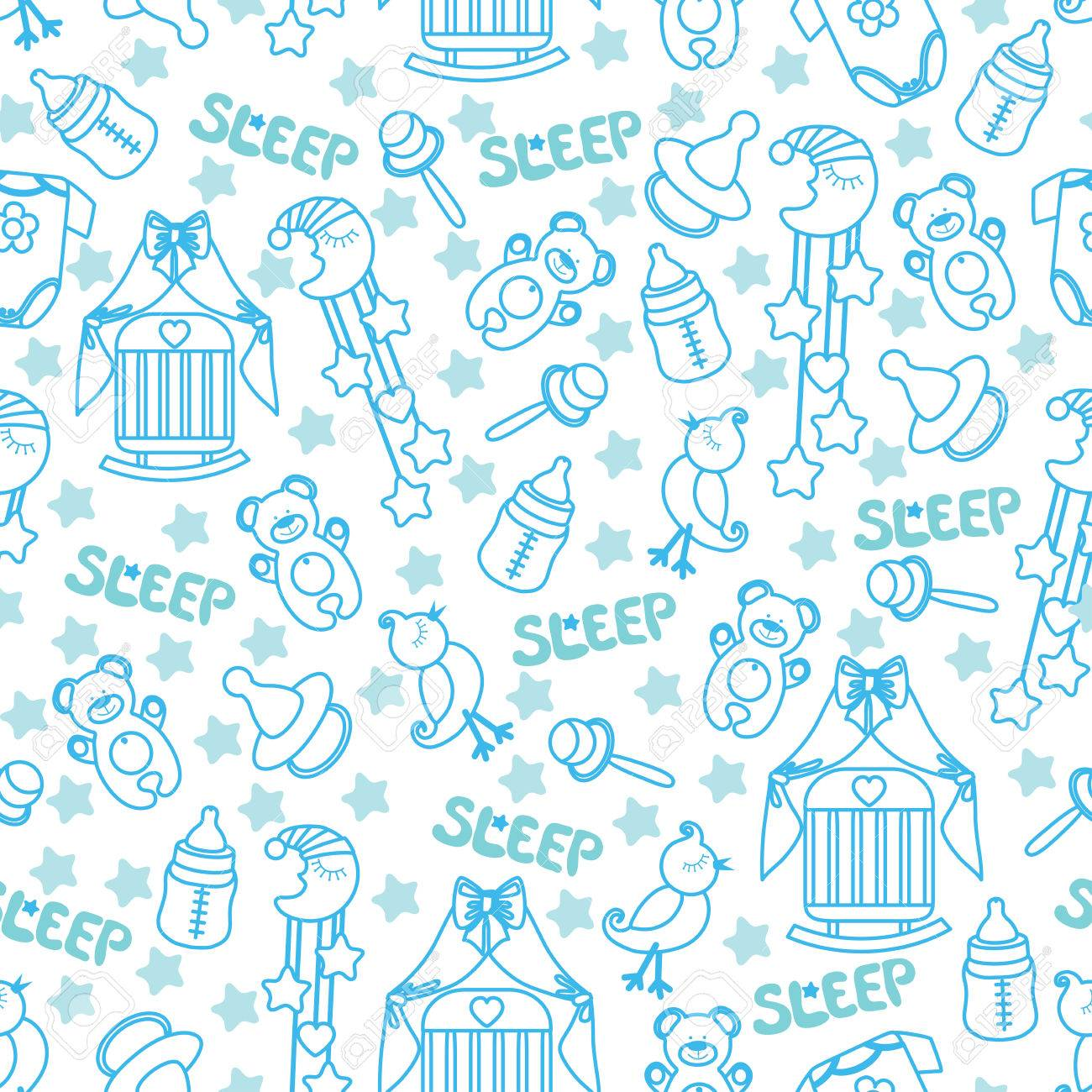 5f99b23e3052 Colorful Sleep Newborn Items Collection In Seamless Pattern For ...