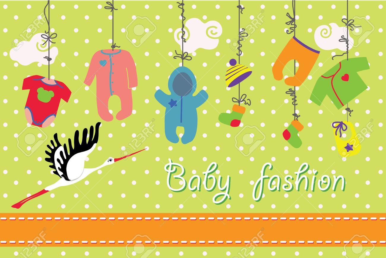 Bunte Kleidung Für Neugeborene Jungen Und Mädchen Hängen Am Seil Auf ...