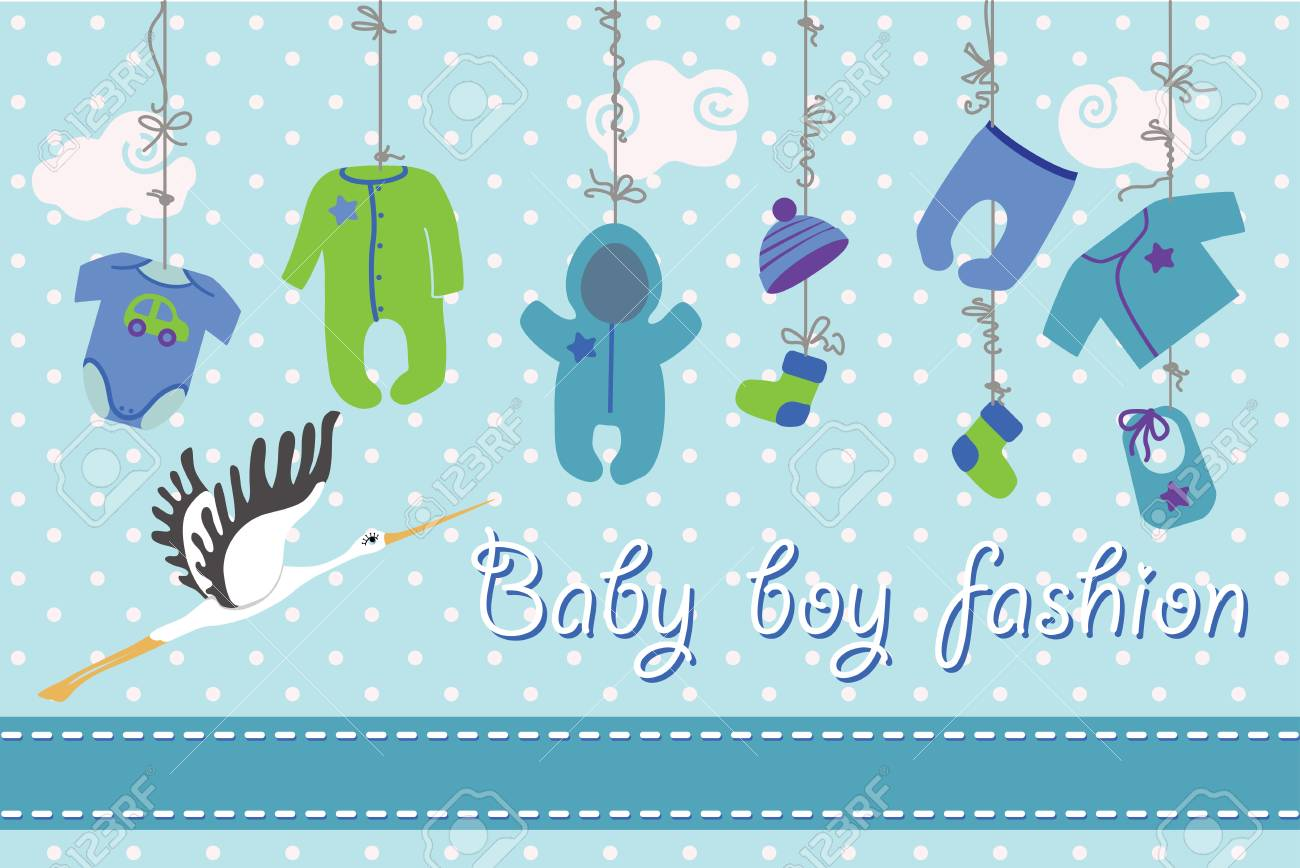 Bunte Kleidung Für Neugeborene Babyboy Hängen Am Seil Auf Polka Dot ...