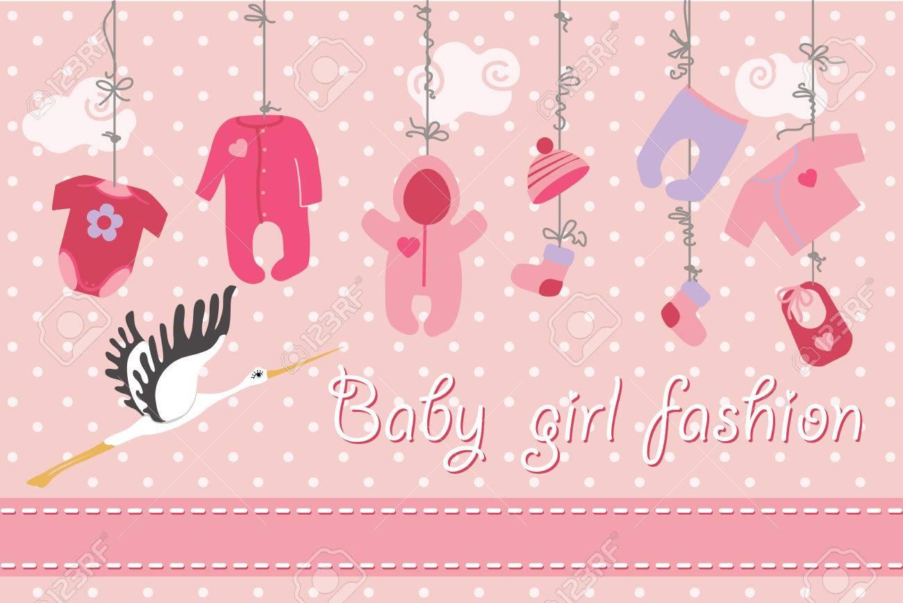 Bunte Kleidung Für Neugeborenen Mädchen Hängen Am Seil Auf Polka Dot ...