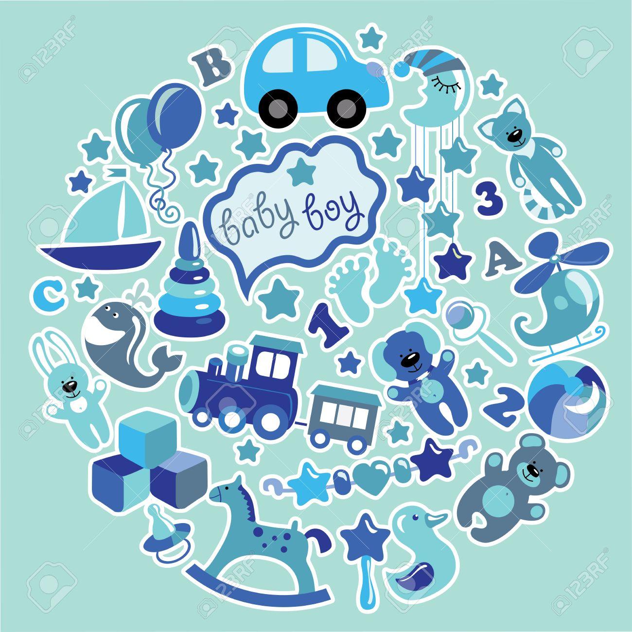 ... conjunto de artículos lindos de los juguetes para el nuevo bebé-niño  nacido en la forma de un círculo. Iconos Azul colors.Vector d0a852b58abd