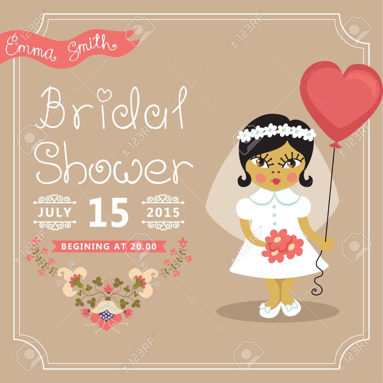 bridal shower invitation asian baby bride floral element stock vector 30221325