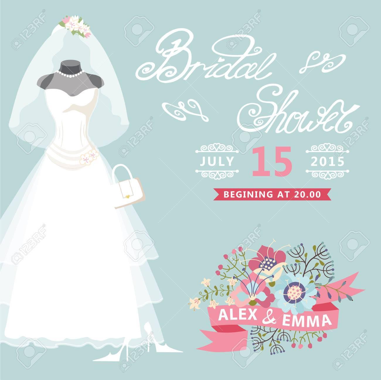 Bridal Shower Card Vintage Wedding Dress With Floral Elements ...