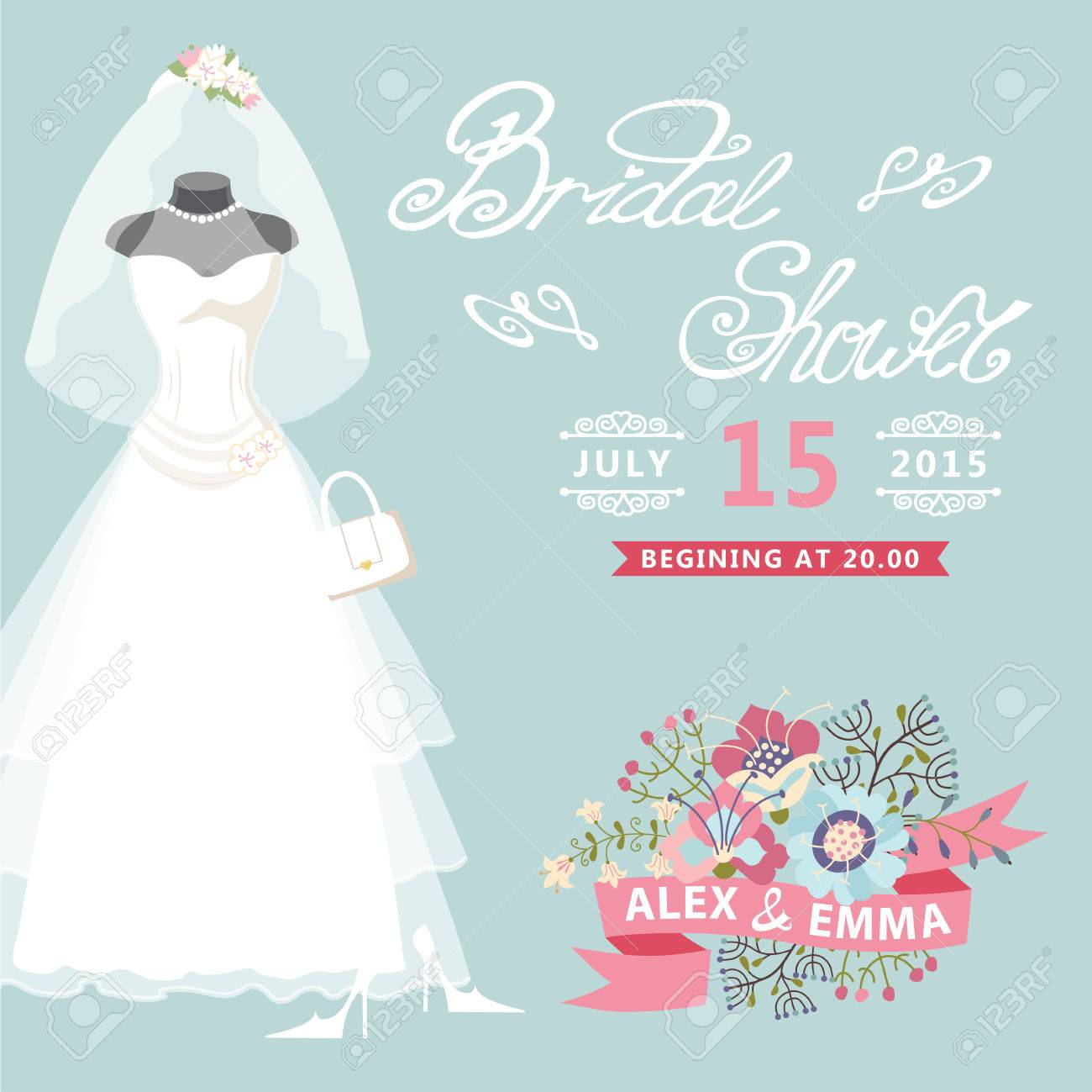 b1a29cca509 Banque d images - Nuptiale carte de douche de robe de mariage de cru avec  des éléments floraux