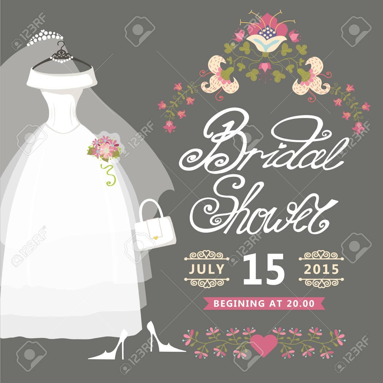 bridal shower card vintage wedding invitation with floral border stock vector 30351851