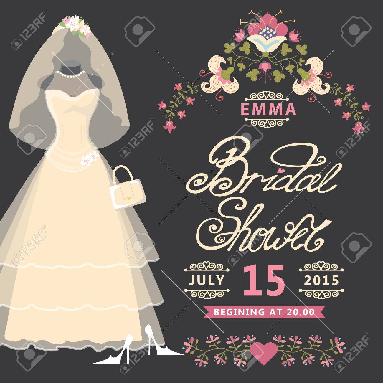 Bridal Shower Invitation Vintage Wedding Dress With Flowers Royalty ...