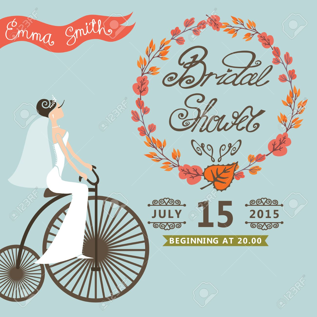 Bridal shower card with bride on retro bicycle and autumn wreath bridal shower card with bride on retro bicycle and autumn wreathntage wedding invitation filmwisefo Choice Image