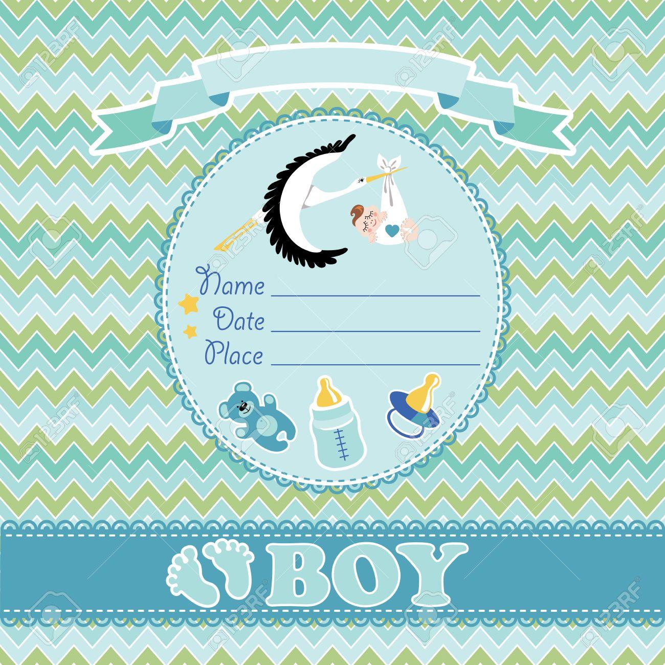 stork flying with european newborn baby boy baby shower card