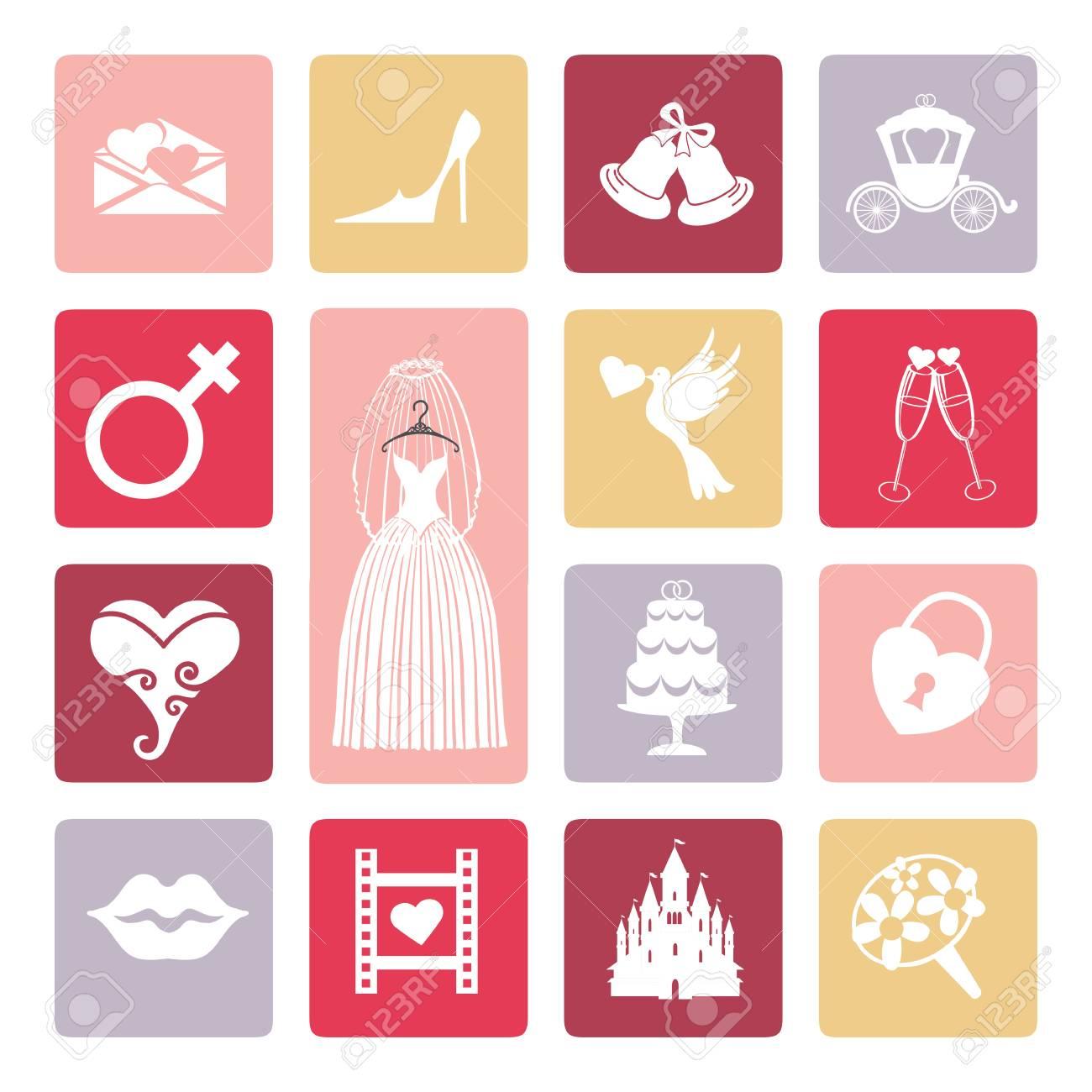 vector wedding icons set flat icons for bridebridal shower