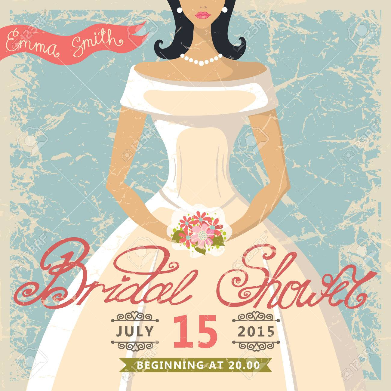 retro bridal shower invitationcute cartoon bride in white dress stock vector 31072856