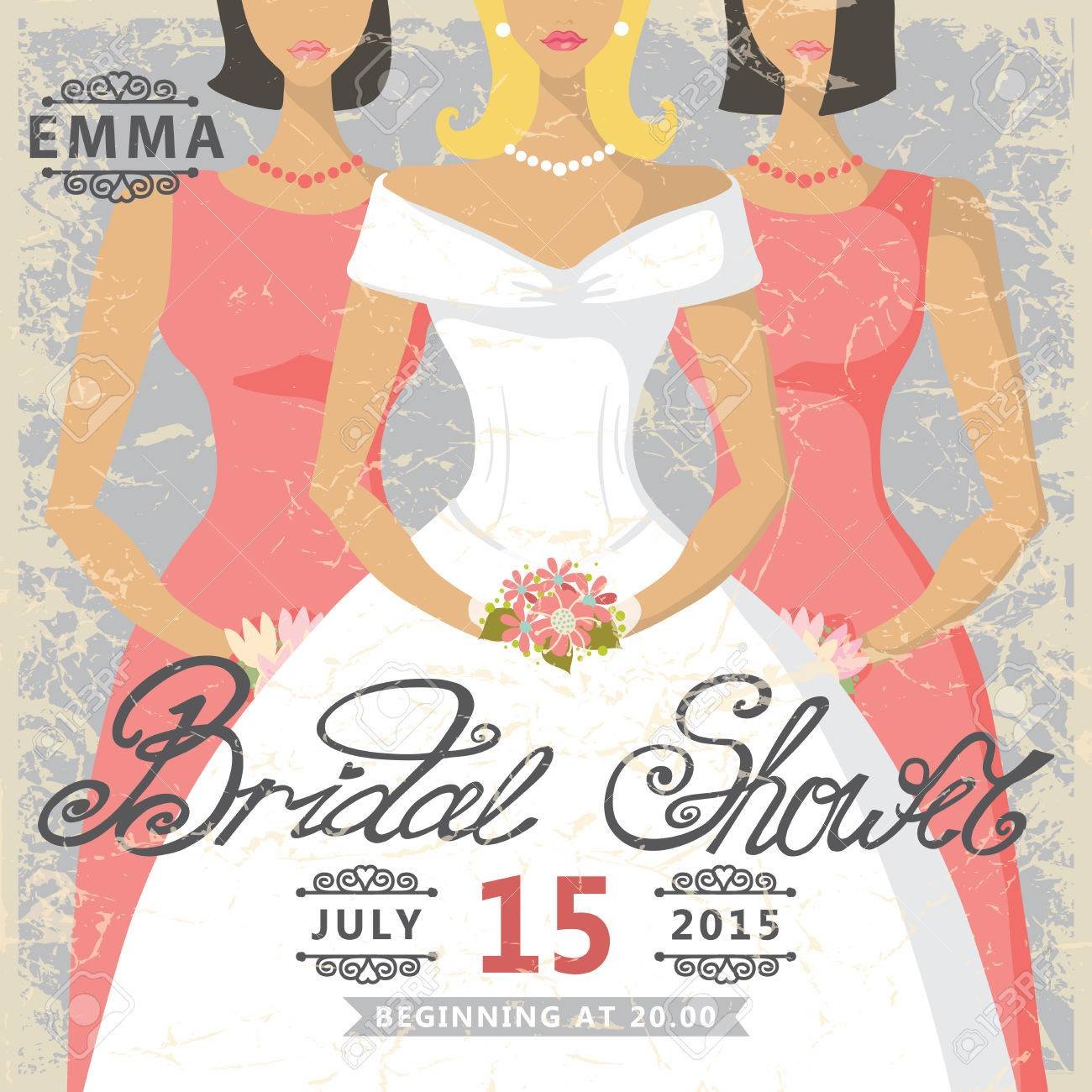 retro bridal shower invitationcute cartoon bride in white dress and bridesmaids in pink dress