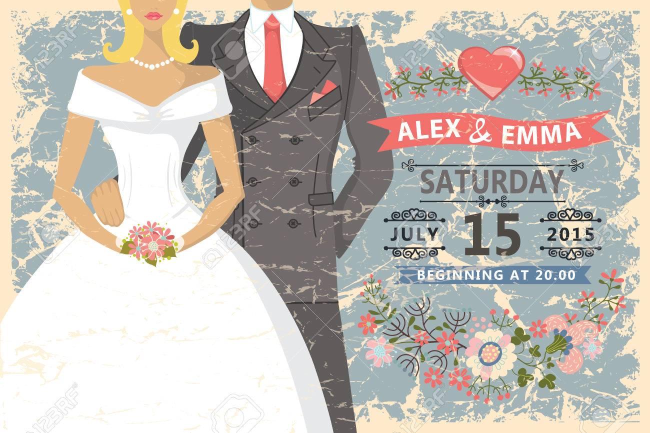 retro wedding invitation cute cartoon couple groom and bride