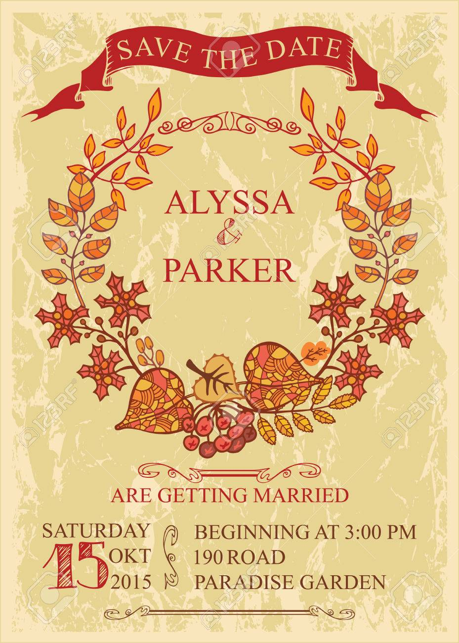 retro wedding save the date card with autumn leaves vector design