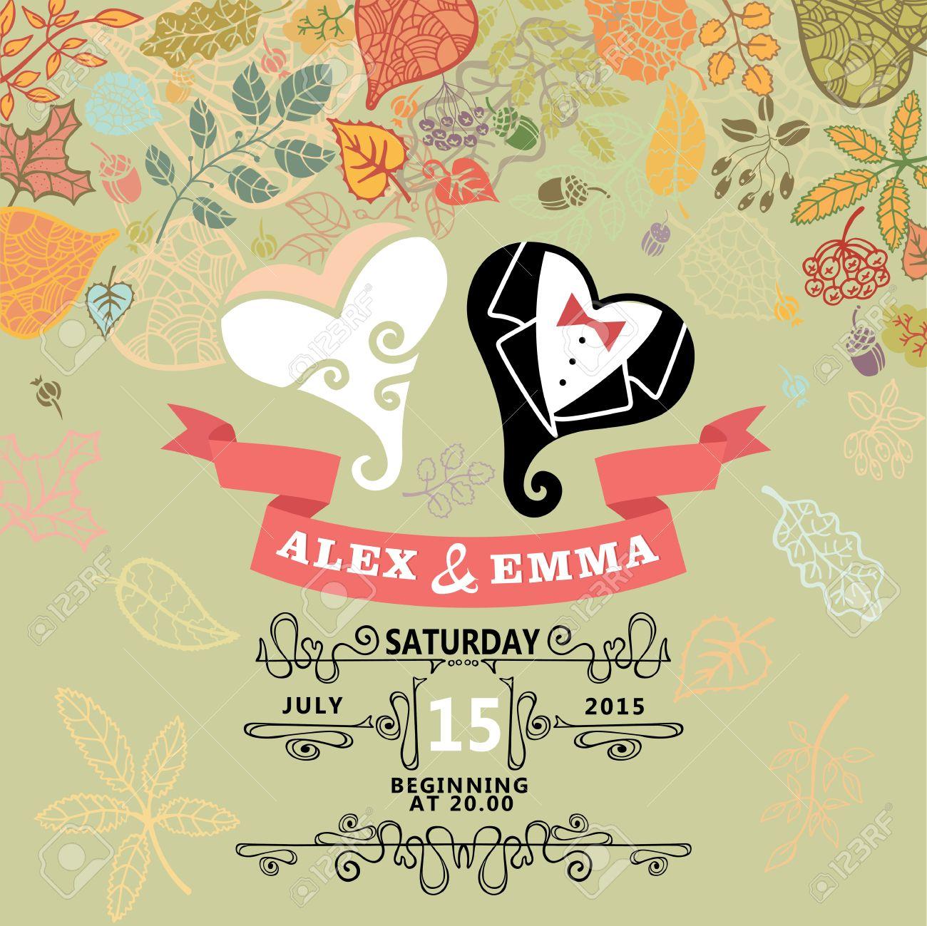 invitacin de boda retro con hojas de otoo dibujos animados estilizada corazones lindos en estilo