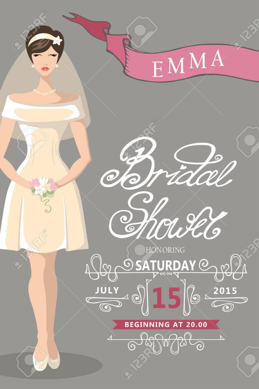 Retro bridal shower invitation cute cartoon bride with decor retro bridal shower invitation cute cartoon bride with decor elements vignettesribbons filmwisefo