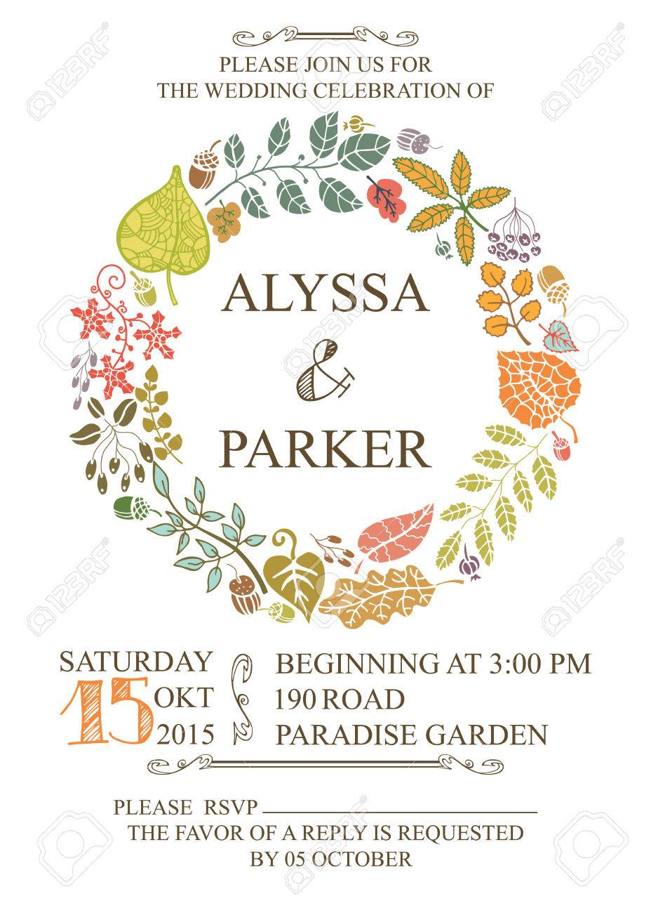 Retro Wedding Invitation With Autumn Leaves.Vector Design Template ...