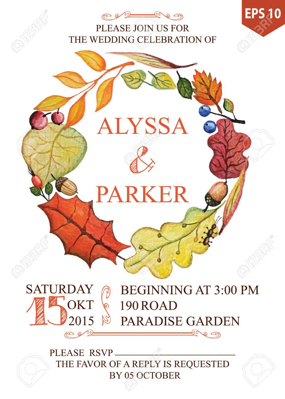 Autumn Wedding Invitation With Watercolor Leaves Wreath Royalty Free ...