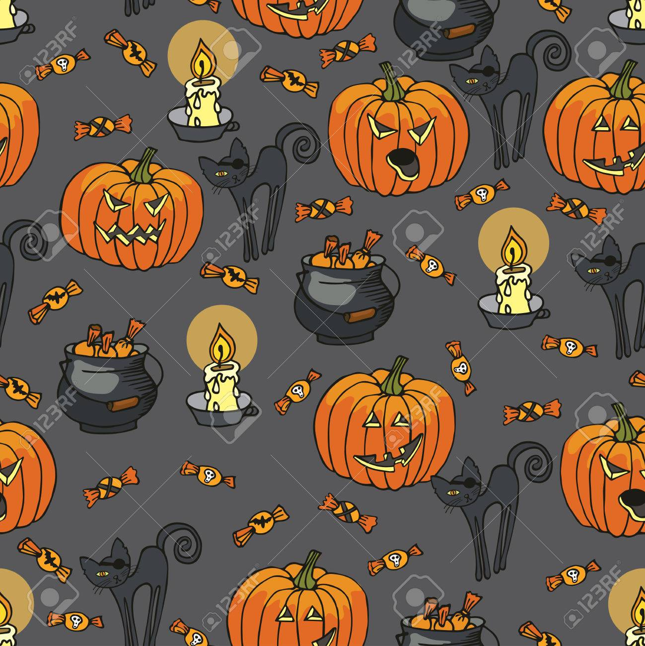 Halloween Doodles Seamless Pattern Or Background.Hand Drawing ...