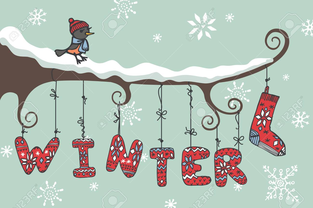 cute cartoon bird sitting on branch knitted letters winter