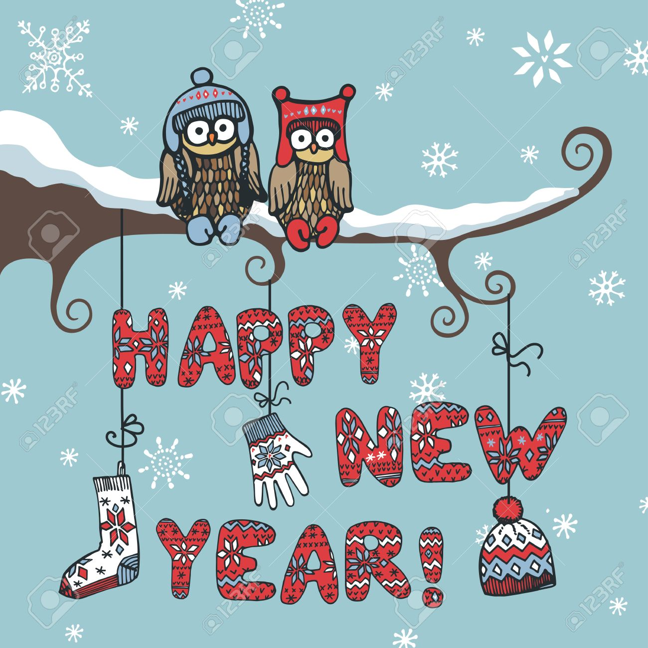 new year cardcute cartoon owl couple sitting on branch knitted letters