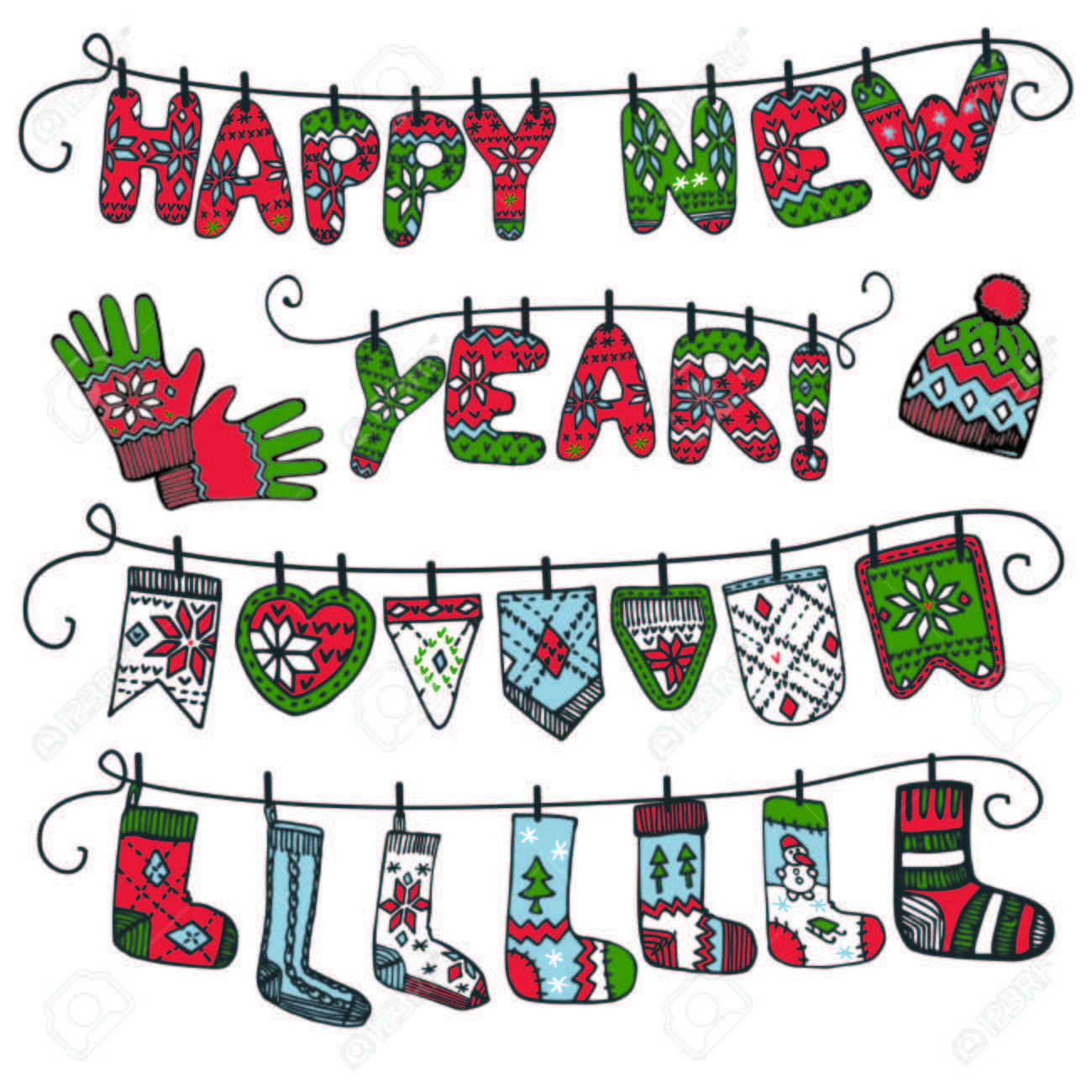 Cute Cartoon Knitted Letters Happy New Year Hanging On The