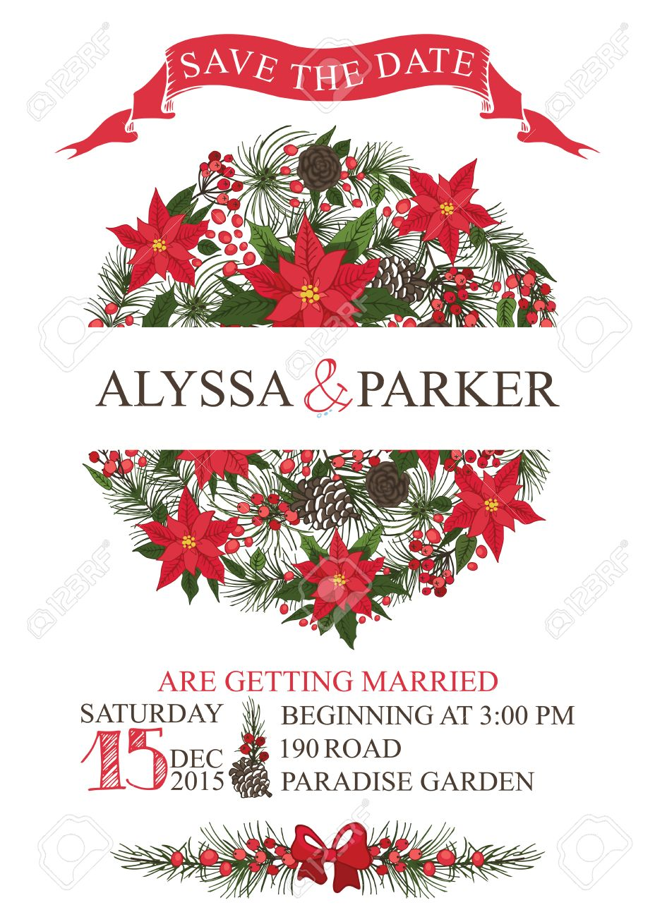 Christmas Save The Date Clipart.Winter Wedding Save The Date Card With Christmas Circle Composition Text Numbers Ribbon