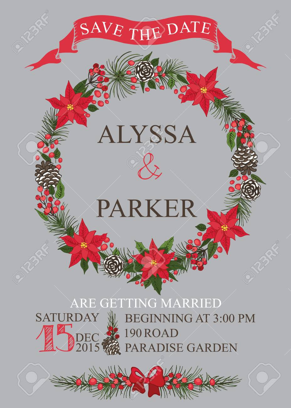 Winter Wedding Save The Date Card With Christmas Wreath,text,numbers ...