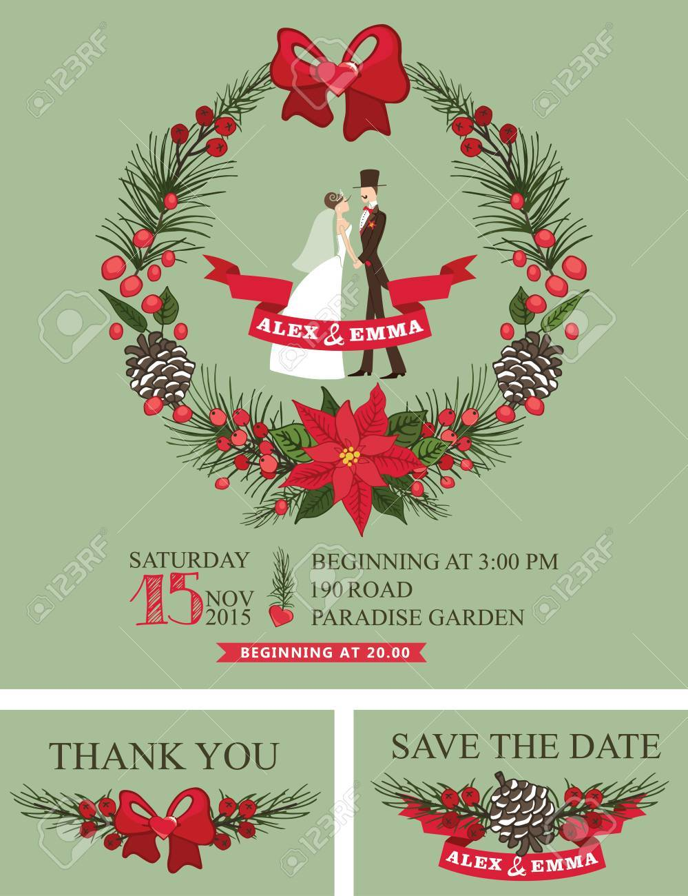 Christmas Wedding Invitations.Winter Wedding Invitation Retro Bride Groom Christmas Wreath