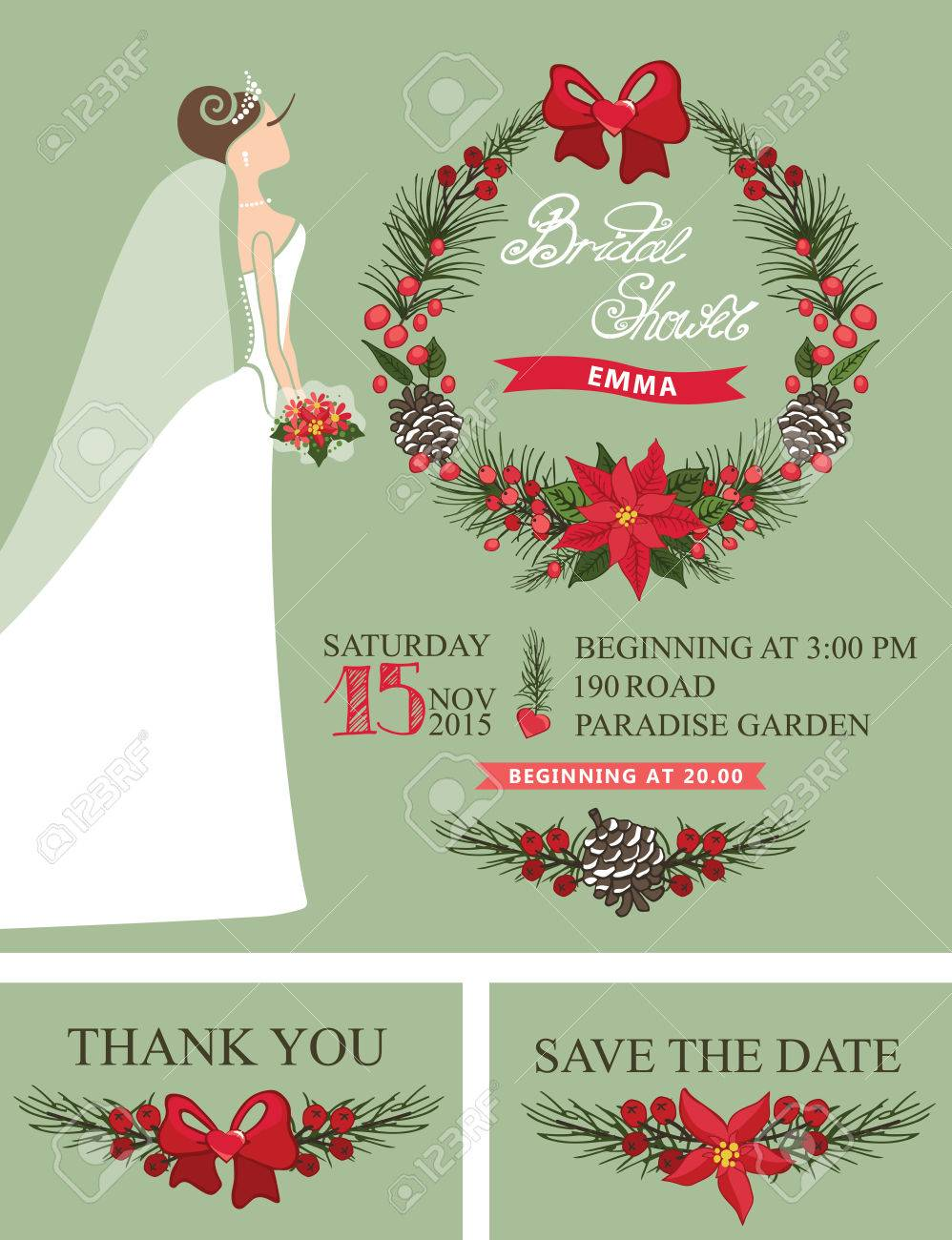 Winter Bridal Shower Set With Cartoon Bride In White Long Dress – Christmas Wedding Shower Invitations