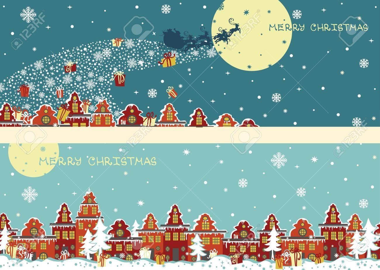 Babbo Natale Con Le Renne.Vettoriale Slitta Di Babbo Natale Con Le Renne Volare Sopra La