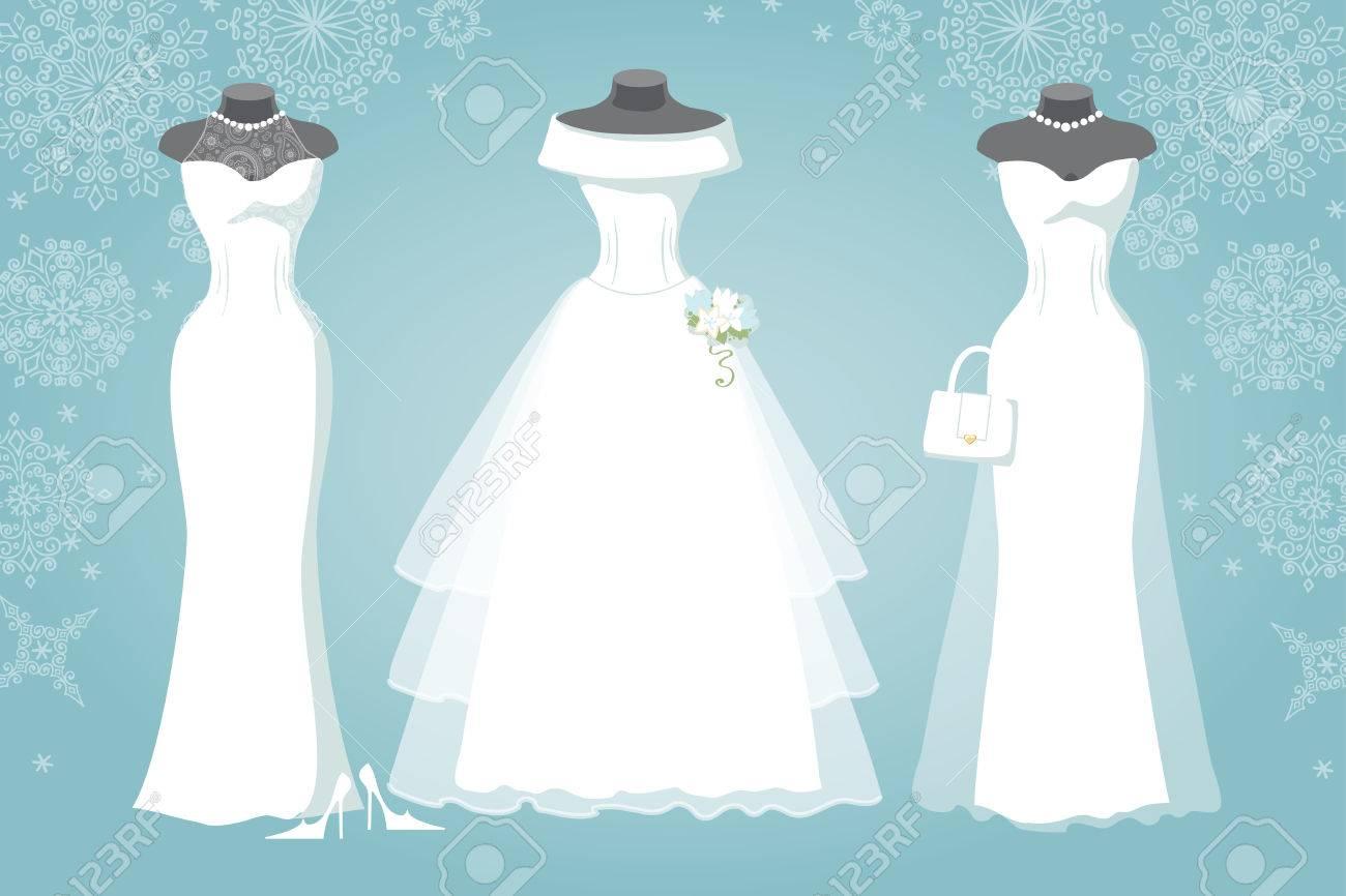 Three Bridal Dresswinter Snowflake Background Royalty Free Cliparts
