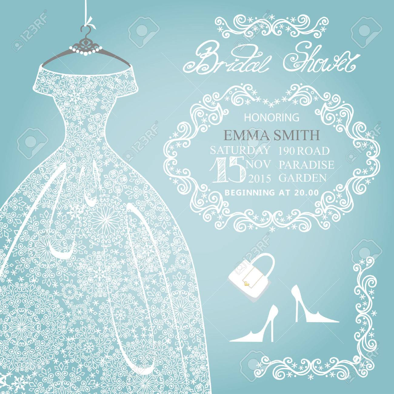 Bridal Shower Invitation.Wedding Snowflake Lace Dress Royalty Free ...
