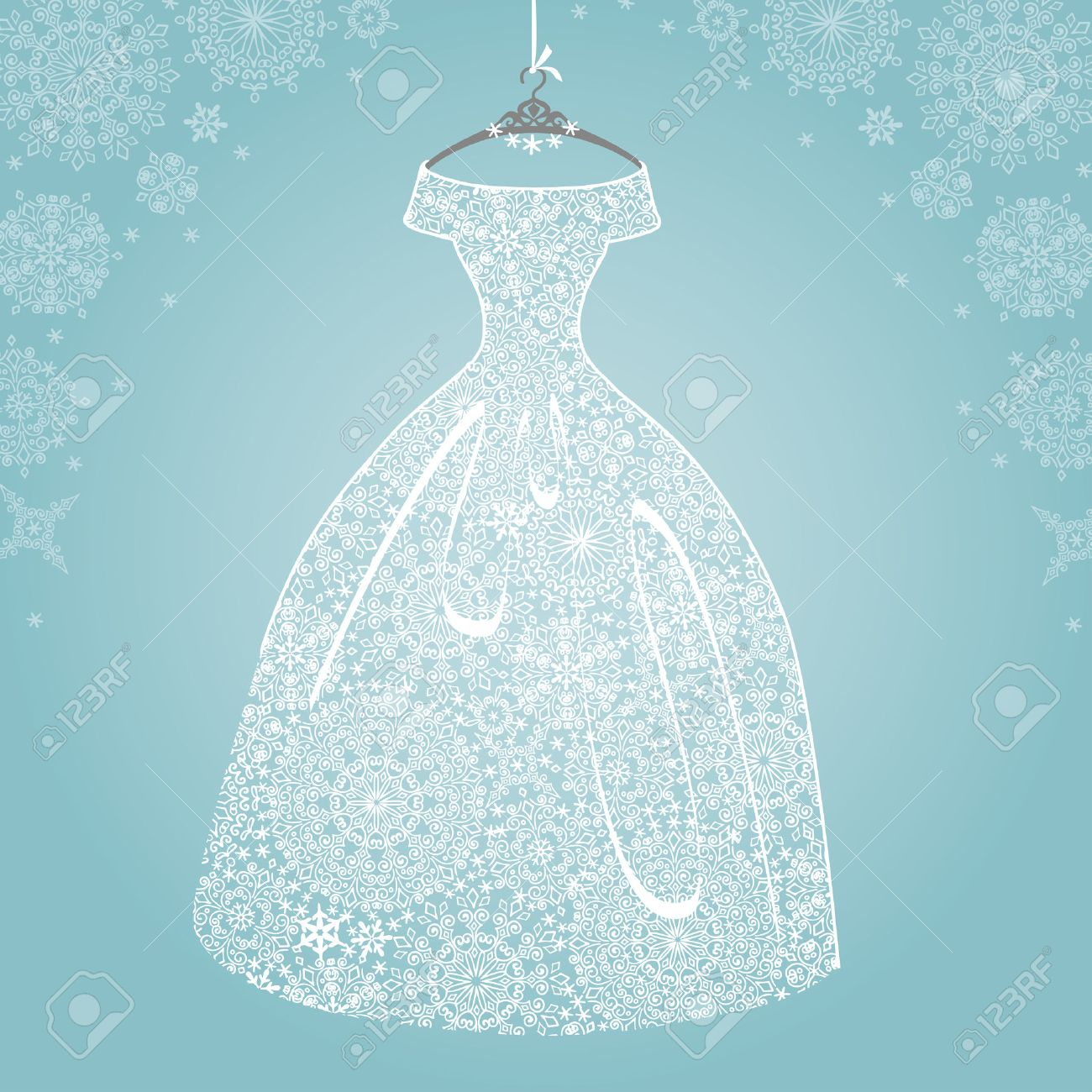 Bridal Dressding Snowflake Lace Royalty Free Cliparts Vectors