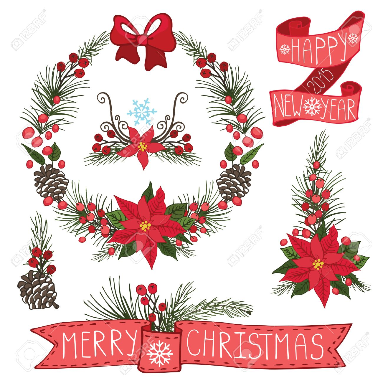 merry christmas and happy new year wreath groupborderflowersspruce