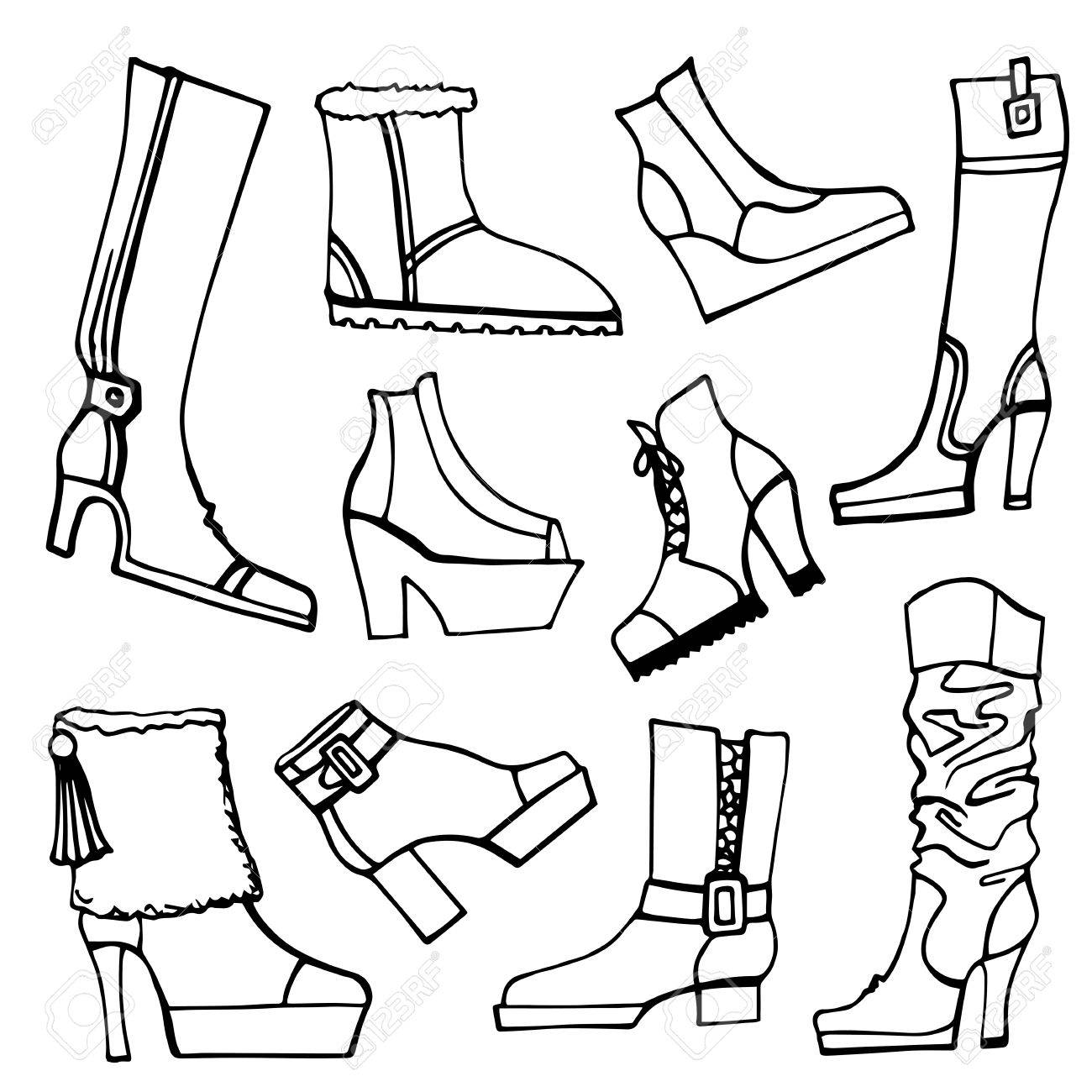 fashion boots drawing. outline fashionable female shoes,boots accessories set on sketchy style. autumn ,winter, fashion boots drawing w
