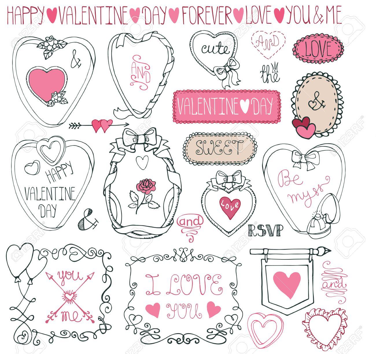 Cadre Romantique Valentine Bundlehand Dessin Décoration De Mariage