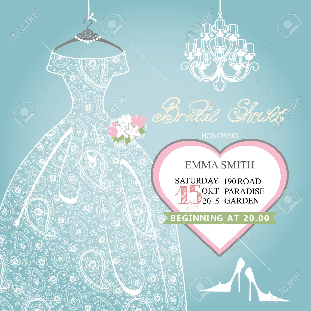 Old Fashioned Wedding Dress Bridal Shower Invitations Sketch All