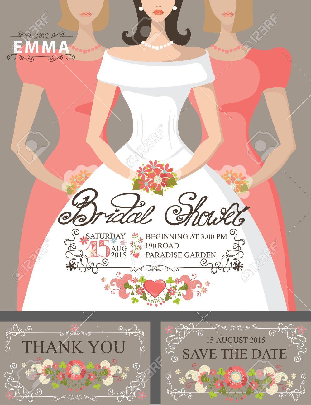 bridal shower invitation setbridebridesmaidsfloral decor stock vector 36296888