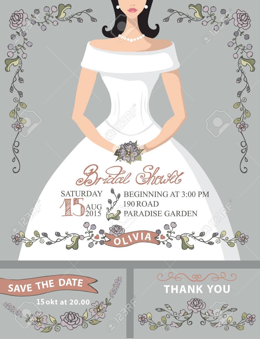 Bridal Shower Invitation Set.Bride Portrait,vintage Floral Decor ...