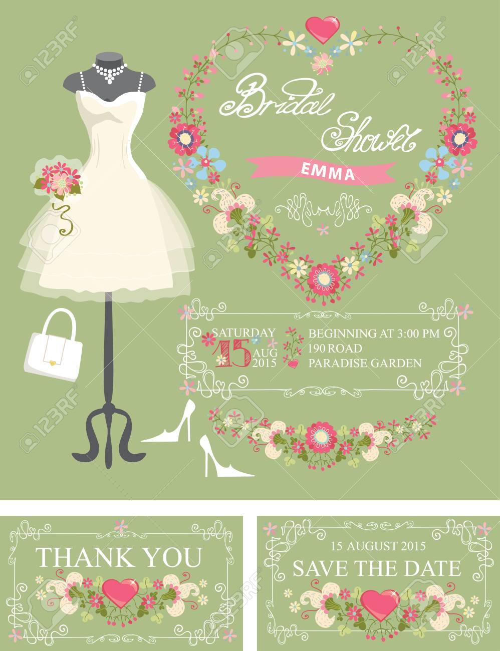 bridal shower invitation set dressfloral decor stock vector 36296900