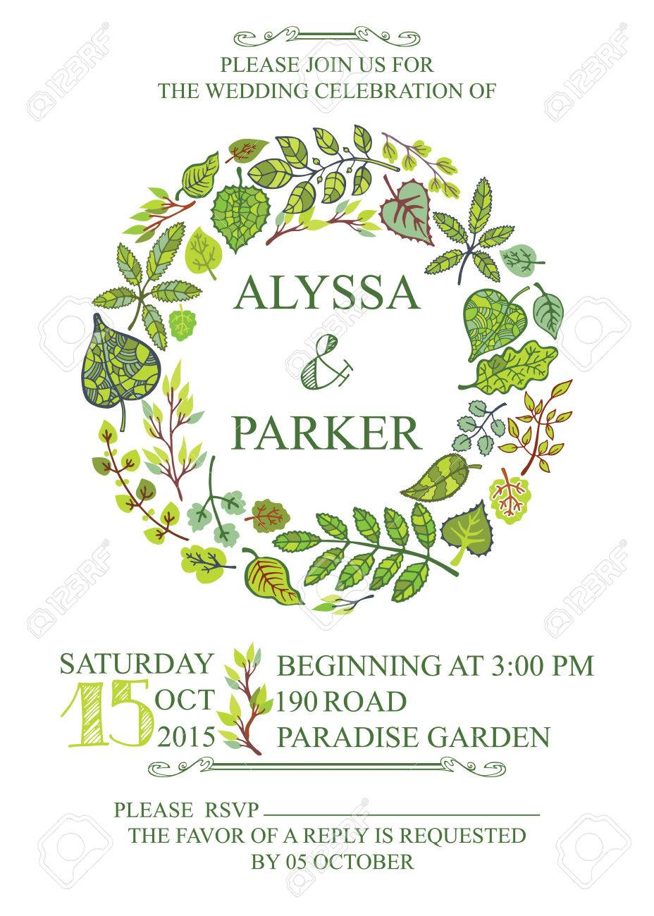 Spring wedding invitation with green leaves wreath royalty free spring wedding invitation with green leaves wreath stock vector 36802891 stopboris Images