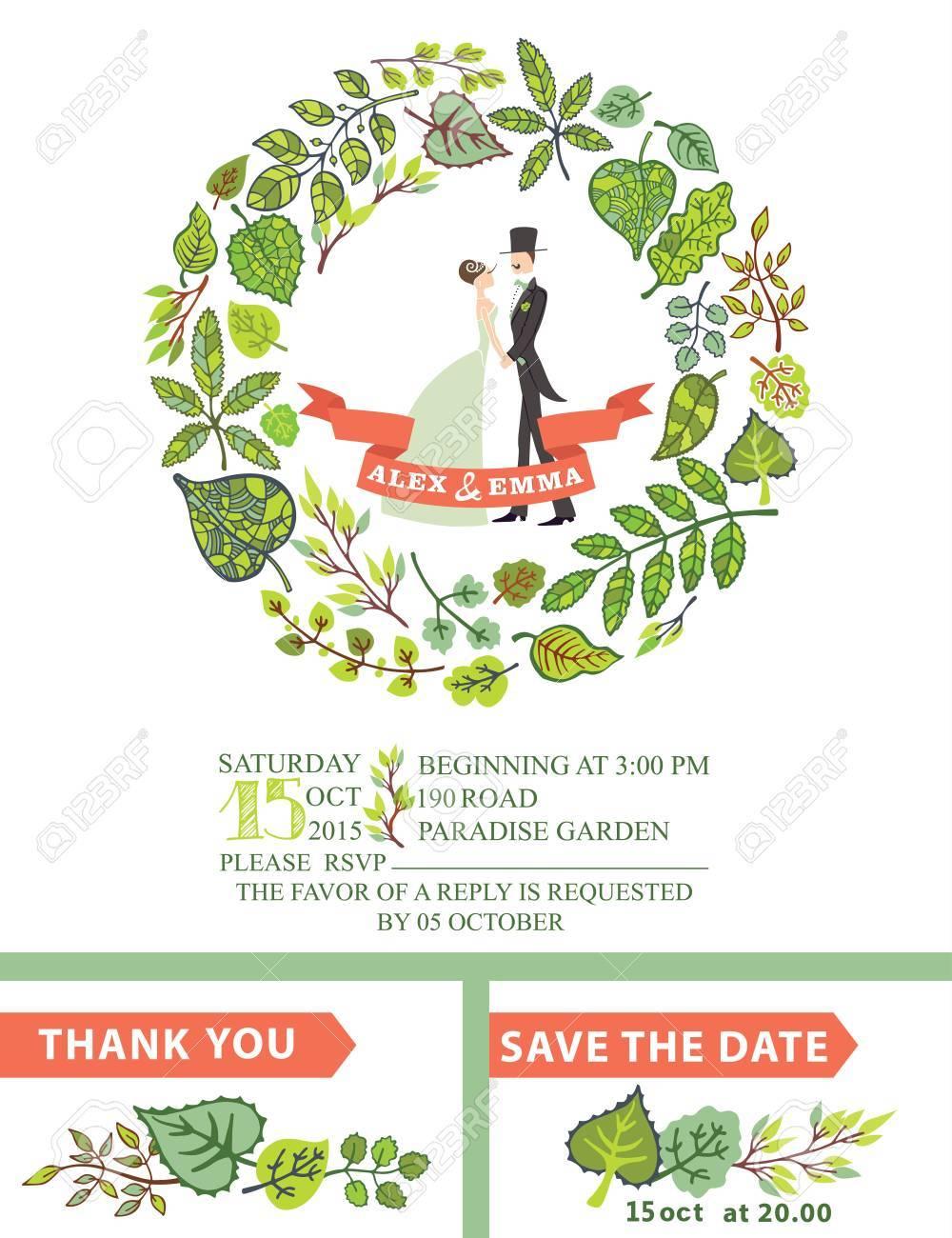 Cute Wedding Invitation With Bride, Groom ,green Leaves Wreath ...