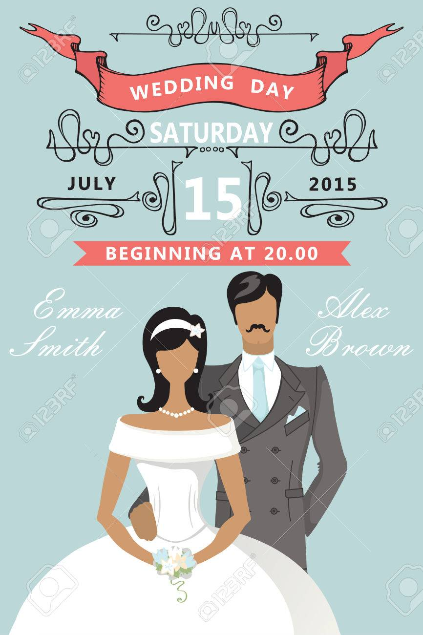Wedding Invitation. Cute Cartoon Bride And Groom Royalty Free ...