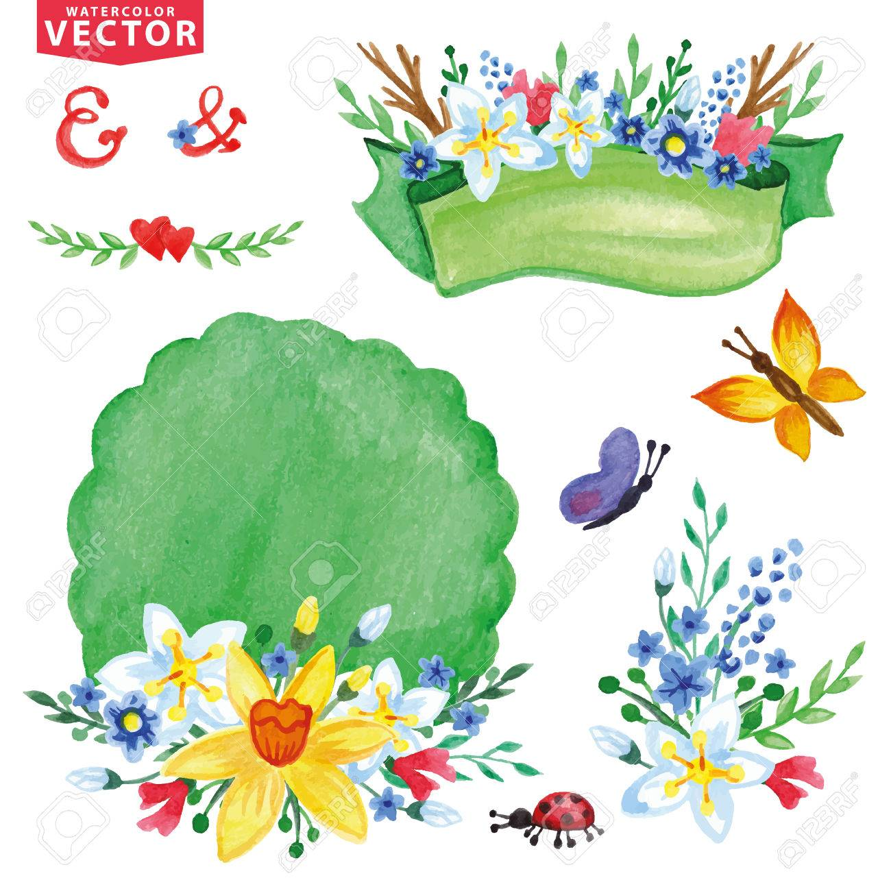 Watercolor Spring Flowers Bouquet Decor Set Royalty Free Cliparts