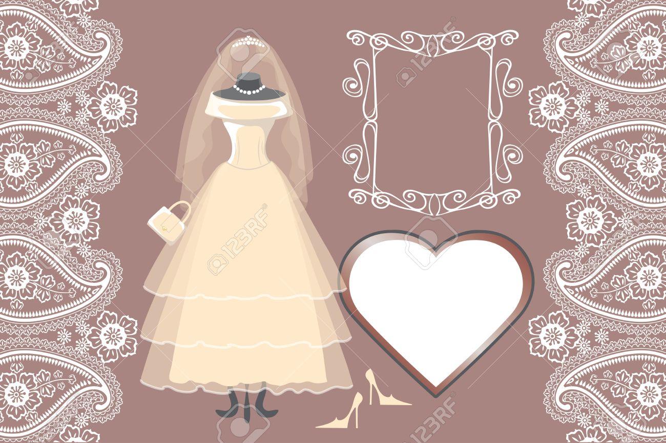 Wedding Bridal Dress With Frame,label,paisley Border Royalty Free ...